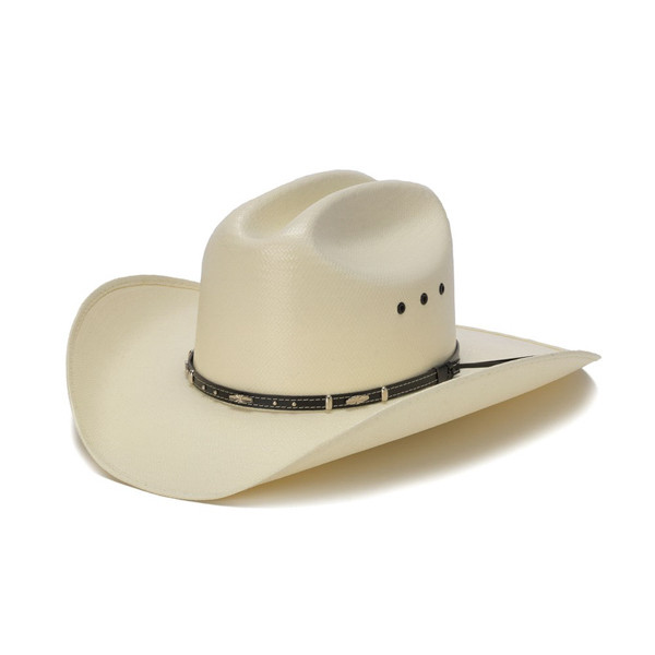 ff19bb9c9dae3 50X Shantung White Cowboy Hat with Leather Trim and Mini Conchos - Front  Angle