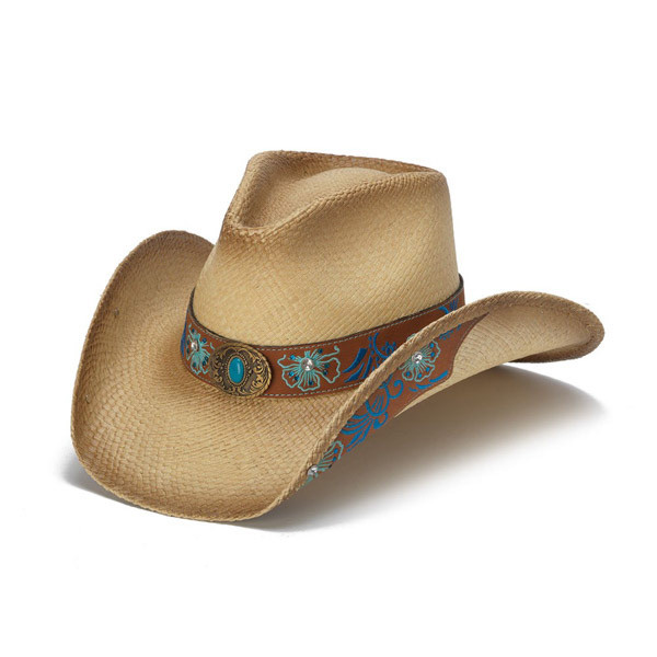 8deceb84739b72 Stampede Hats | Blue Floral Leather Panama Western Hat | Hats Unlimited