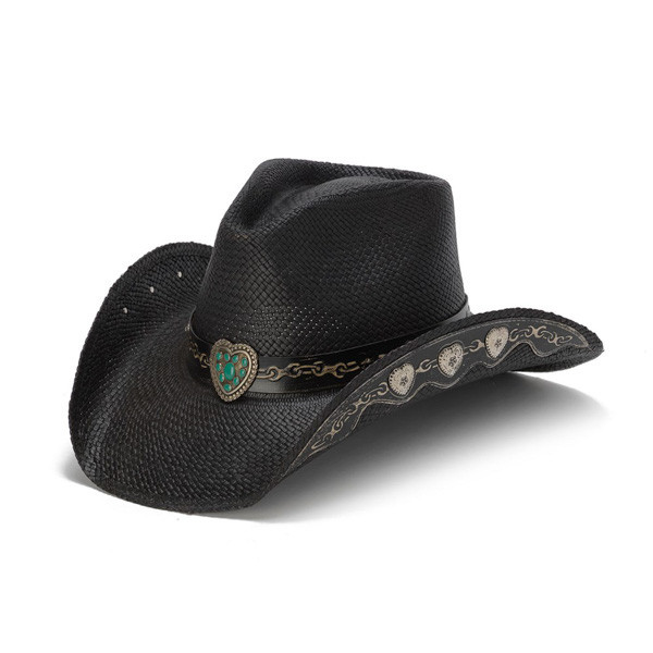 Stampede Hats - Hearts and Chains Black Straw Western Hat - Front Angle 636826b79bf9