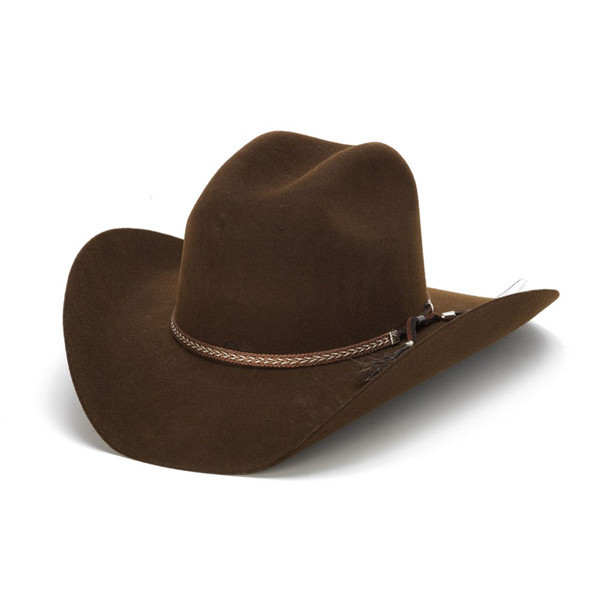 Stampede Hats - Tassel Leather Trim 100X Wool Felt Brown Cowboy Hat - Front  Angle bed3d551b99