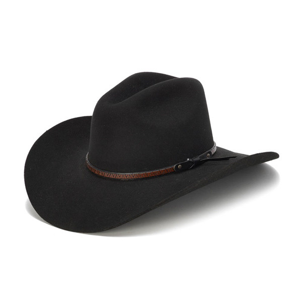 8000a6707 Stampede Hats - 100X Wool Felt Black Cowboy Hat with Zig Zag Leather Trim