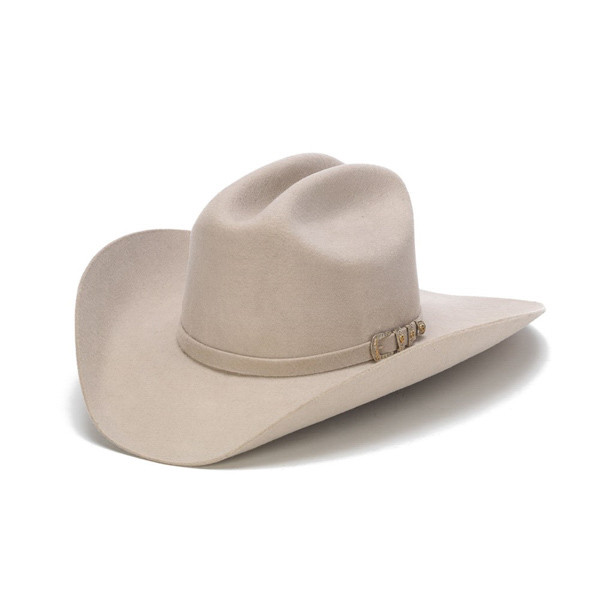 Stampede Hats - 100X Wool Felt Beige Cowboy Hat with Silver Buckle - Front  Angle 580bb2c1437
