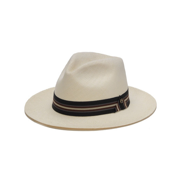 1a46eb98 Austral Hats   White Panama Hat with Tri-Tone Stripe   Hats Unlimited