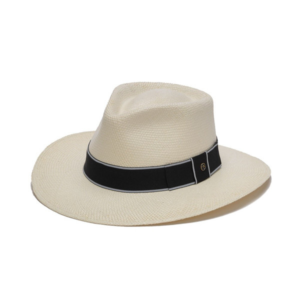 77d46d22 Austral Hats - White Panama Hat with Flat Bow and Grey Band - Front Angle