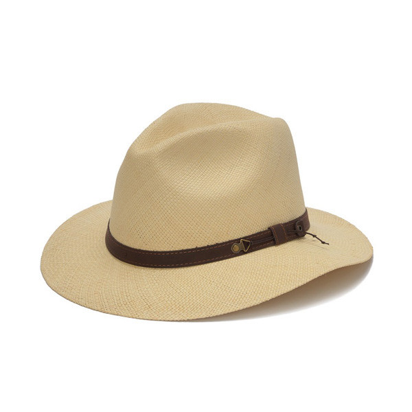 2700c366 Previous. Austral Hats - Beige Wide Brim Panama Hat with Brown Band - Front