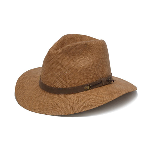 9d4e2a8f Austral Hats. Austral Hats - Light Brown Panama Hat with Brown Leather Band