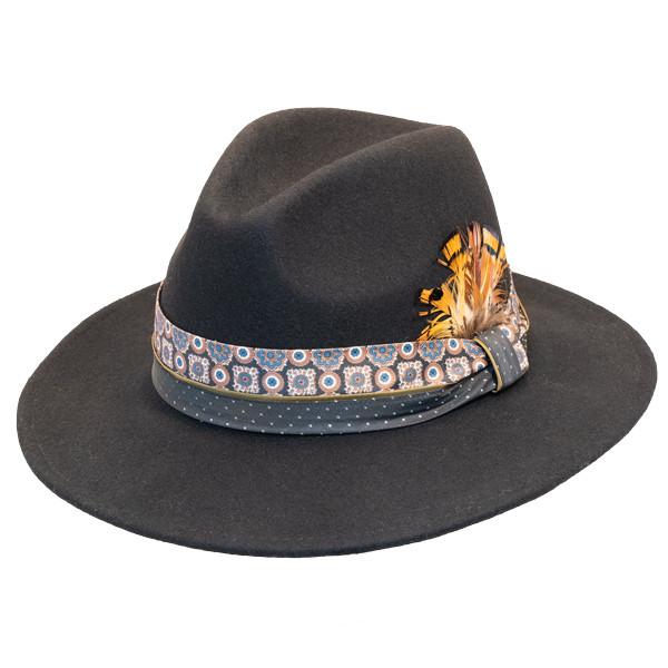 b45ab13dfcd Jeanne Simmons - Wool Felt Fashion Fedora w  Feather - Black