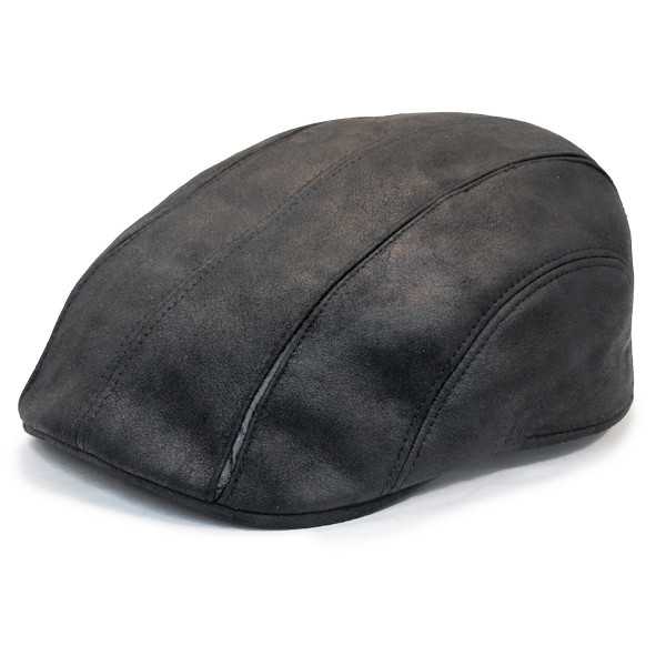 f7b57971929 Henschel - Faux Leather 6 Panel Driver Cap in Black - Full