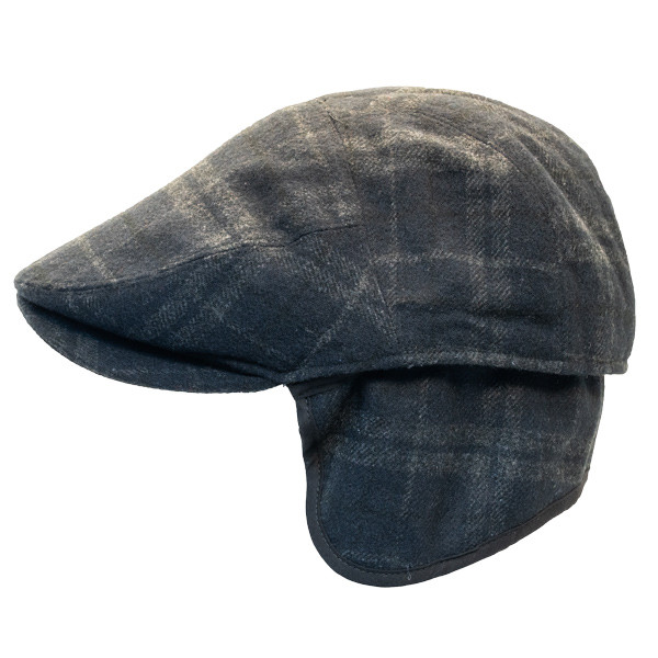51ea524f6aa19 Henschel - Wool Blend Flat Cap with Ear Flaps in Black - Side Unfolded