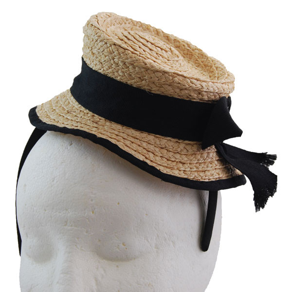 Jeanne Simmons - Straw Mini Boater Fascinator (Front) 86c7150f1a2