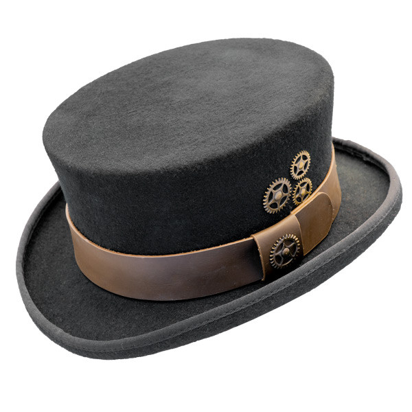 Conner - Low Crown Steam Punk Top Hat in Black eacc5976179