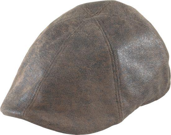 Henschel. Henschel - Brown Distressed Faux Leather Duckbill Cap b6041b94d023