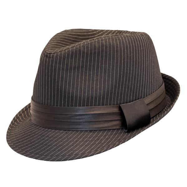 2e75b09eff1c1 Kenny K - Black on Black Pinstripe Fedora Hat