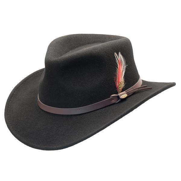 Scala - Crushable Wool Felt Outback Hat Black - c8b0a6be555
