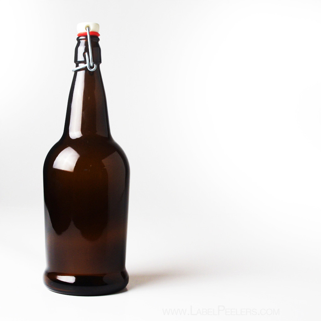 EZ Cap Amber 1 Liter Bottles - 12 Count