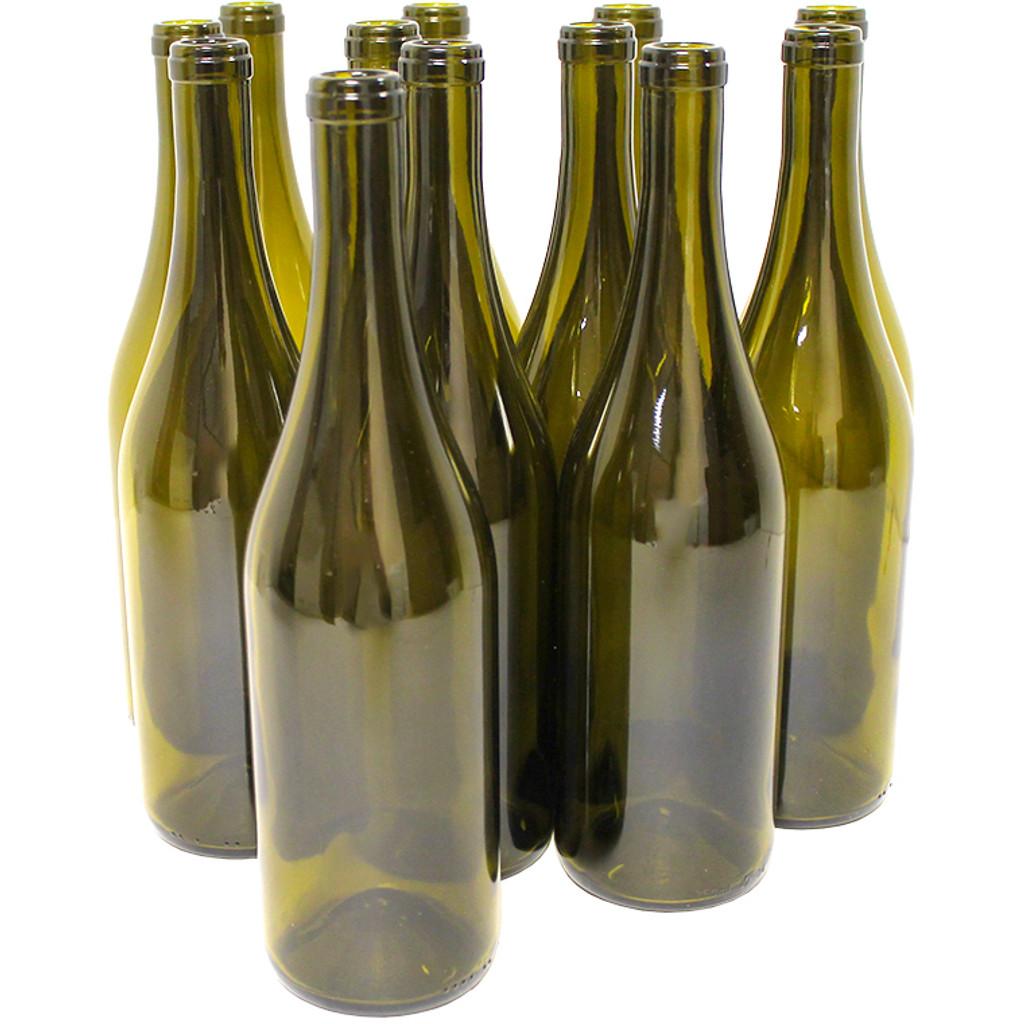 Antique Green Burgundy Wine Bottles 750 mL - 12/Case