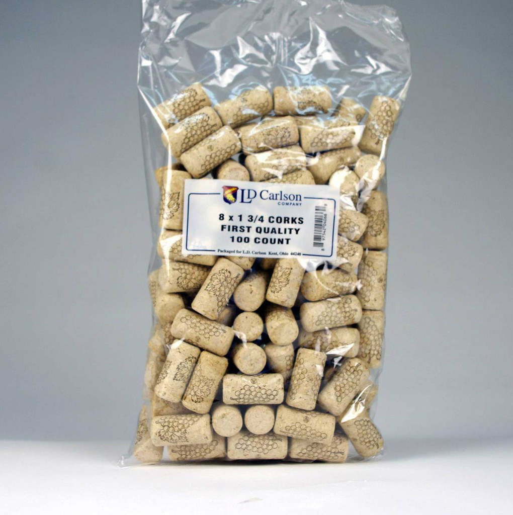 8 x 1 3/4 First Quality Straight Wine Corks 100 ct