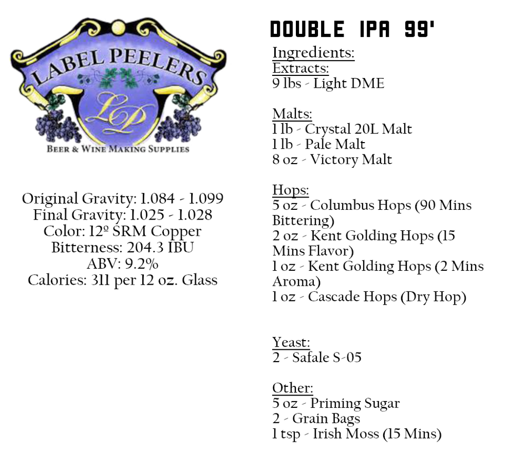 Double I.P.A. 99' Recipe Beer Kit