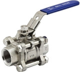 "Three Piece Stainless Steel Ball Valve 1/2"" NPT"