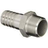 "Stainless Steel 1/2"" Barbed Hose Fitting 1/2"" Male NPT"