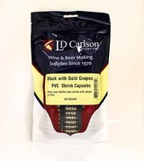 Black/Gold Grapes PVC Shrink Capsules (Bag Of 30)
