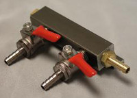 2 Way Gas Manifold with 1/4 in Barbs