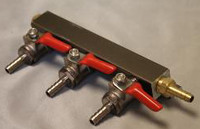 3 Way Gas Manifold with 1/4 inch Barbs