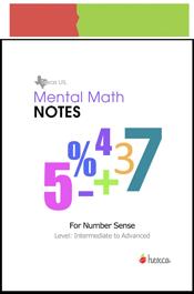 look inside mental math notes for number sense