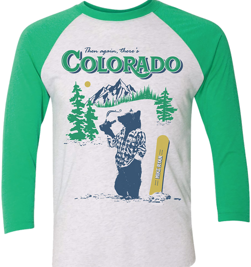 Colorado Baseball Tee- Green/Heather White