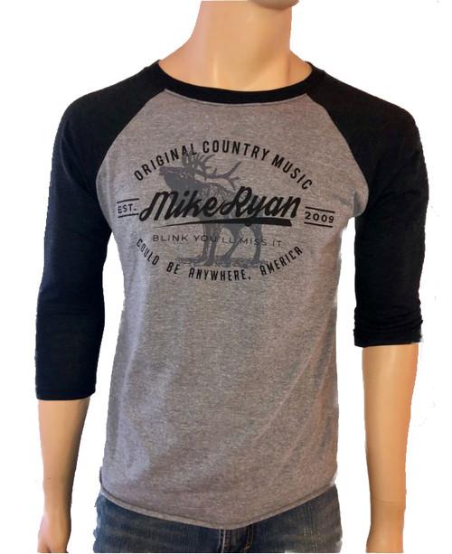 Mike Ryan Elk Baseball Tee- Charcoal/ Heather Grey