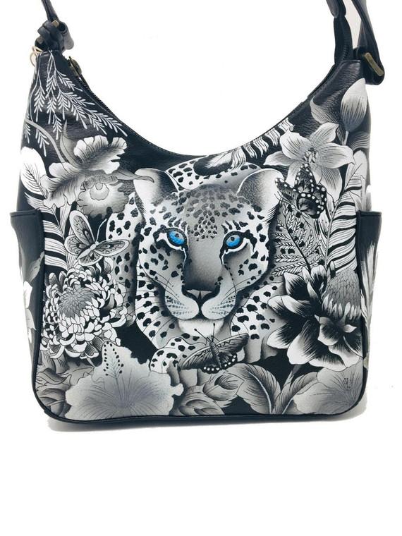 Anuschka Classic Hobo Side Pocket Cleopatra's Leopard