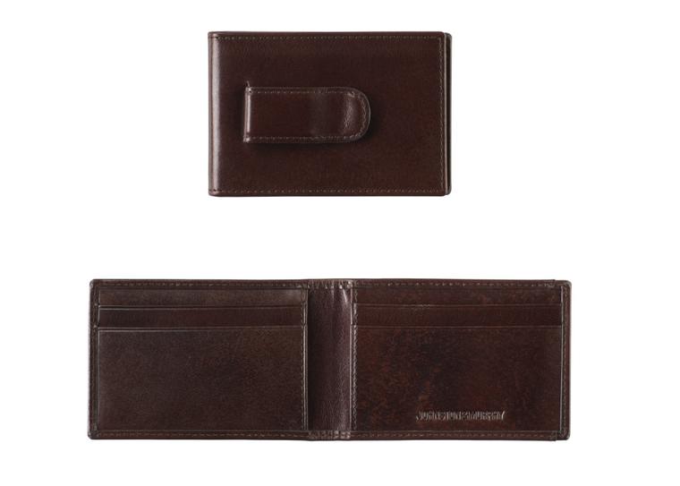Johnston&Murphy Italian Leather Brown Two-Fold Wallet w/ Money Clip