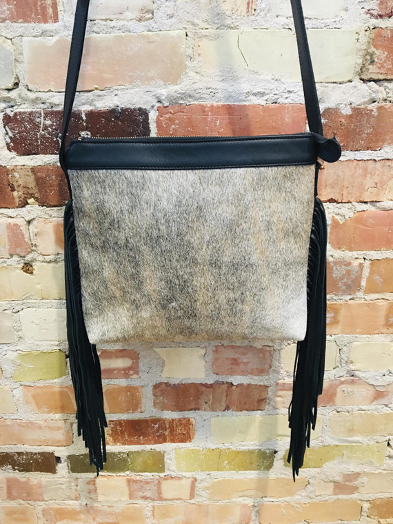 Gabi Capobianco Fringe Crossbody Black/Off White