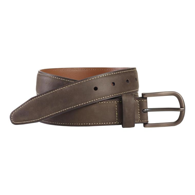 J&M Brown Oiled Contrast Stitch Belt