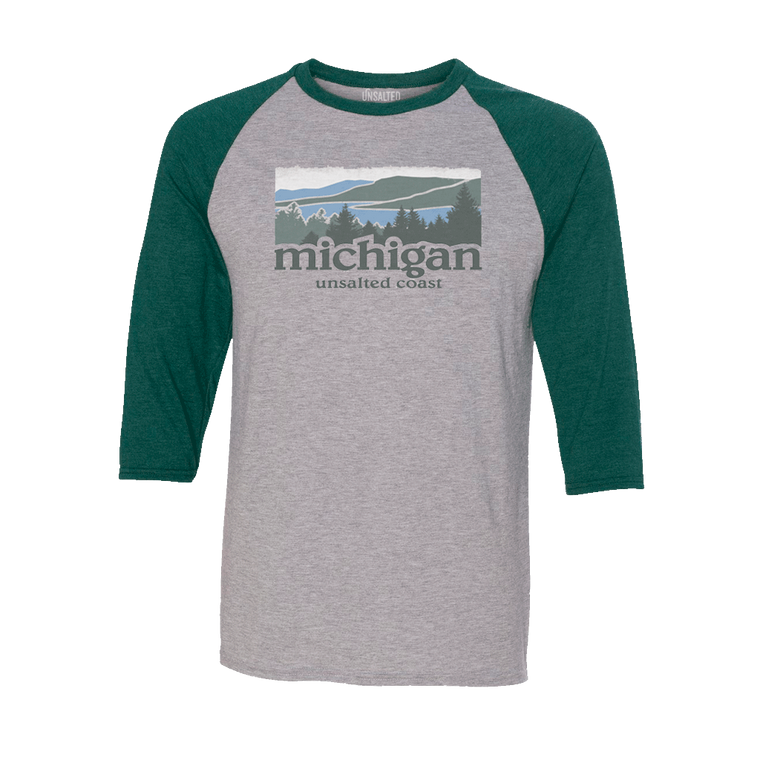 Unsalted Coast 3/4 Sleeve Raglan Grey/Green