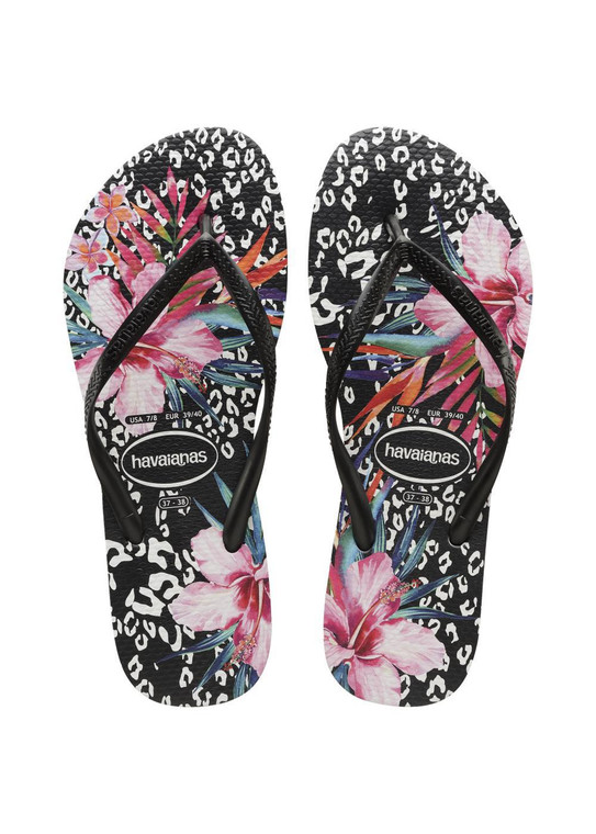 Havaianas Slim Animal Floral Black