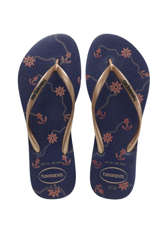 Havaianas Slim Nautical Navy Blue/Rose Gold Sandal