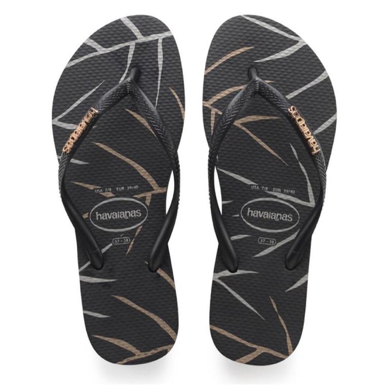 Havaianas Slim Logo Metallic Leaf Sandal Black/Silver