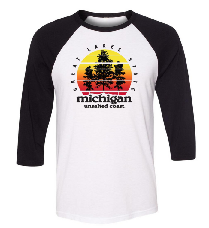 Unsalted Coast Sunset Raglan White/Black