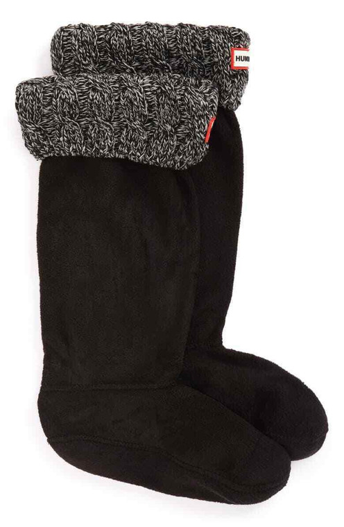 Hunter Original Tall Cable Knitted Boot Sock Black/Grey
