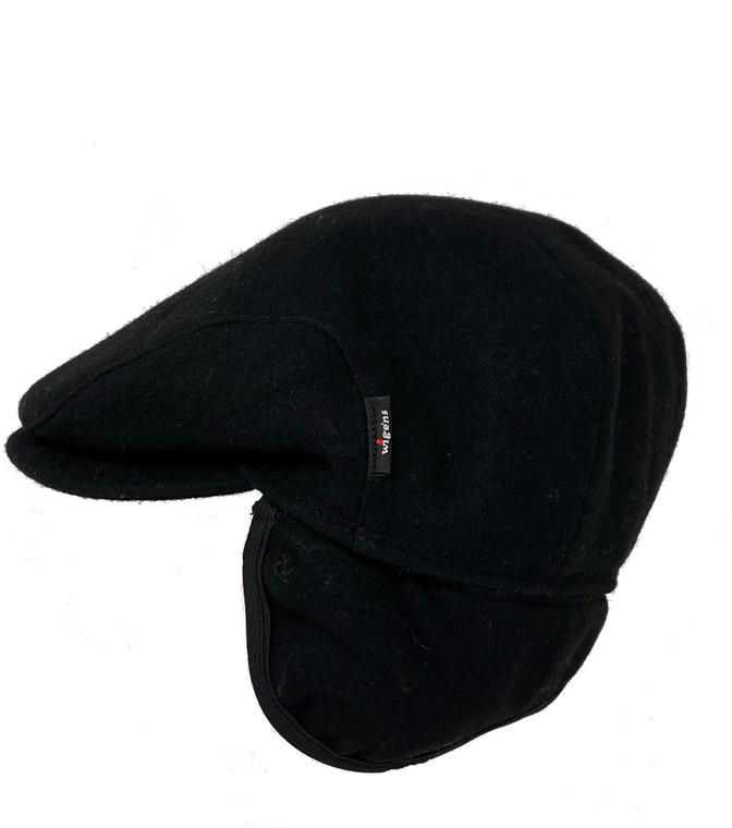 Wigens Ivy Black Wool Duster Cap W/ Earflaps Size 59
