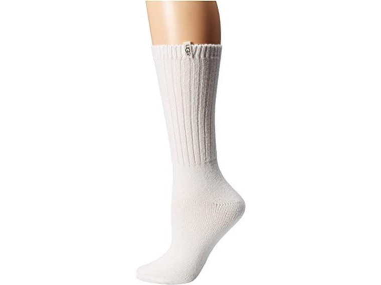 UGG Rib Knit Slouchy Crew Sock White