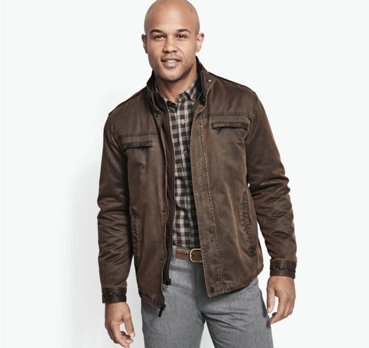 J&M Antiqued Cotton Jacket Brown
