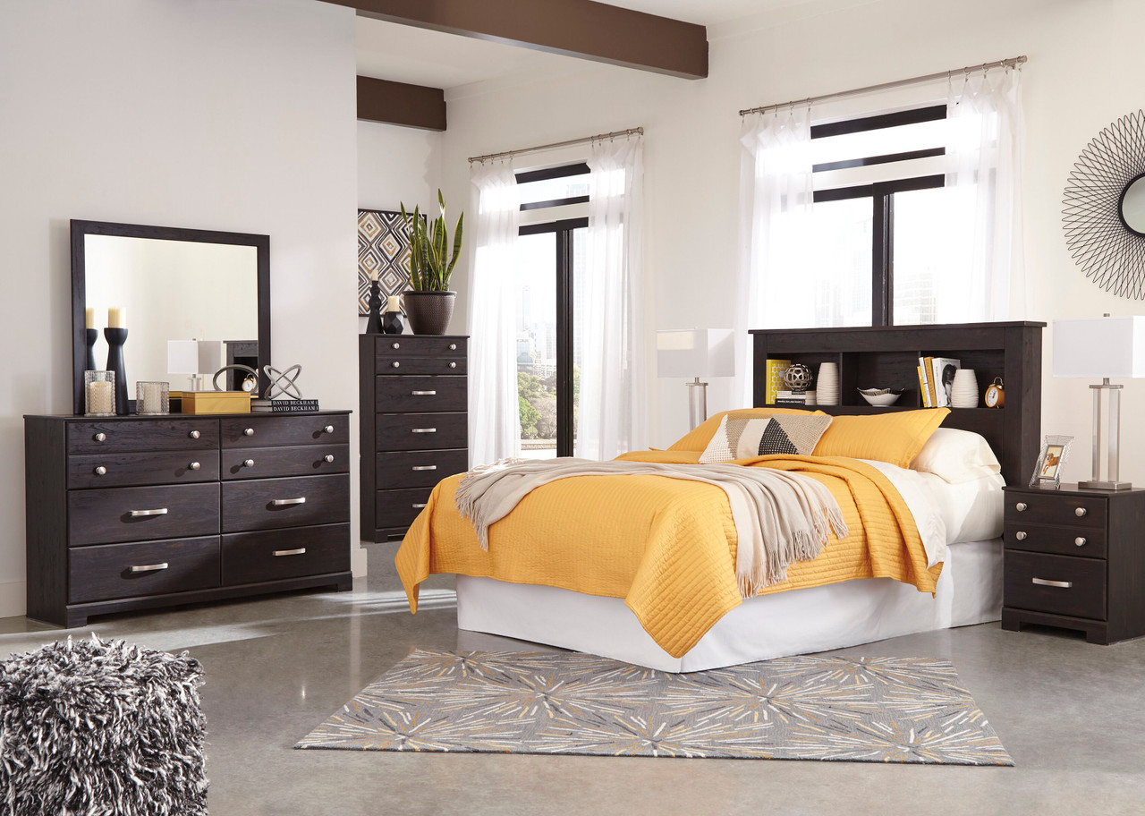 Reylow Dark Brown 5 Pc Dresser Mirror Chest Queen Bookcase Headboard With Bolt On Bed Frame Sold At Hilton Furniture Serving Houston Tx Ands Surrounding Areas