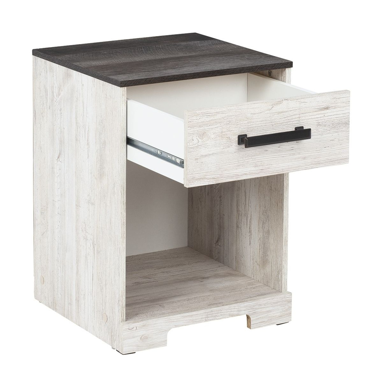 Shawburn White Dark Charcoal Gray One Drawer Night Stand Sold At Hilton Furniture Serving Houston Tx Ands Surrounding Areas