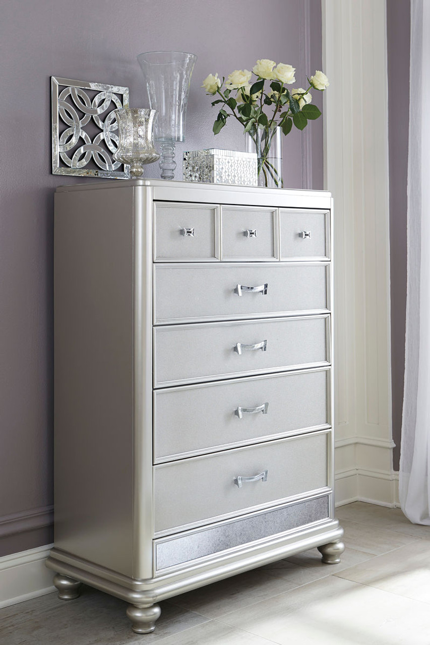 Coralayne Silver Five Drawer Chest Sold At Hilton Furniture Serving Houston Tx Ands Surrounding Areas