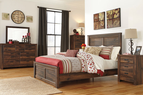 Quinden Dark Brown 7 Pc.Queen Panel Bedroom Collection