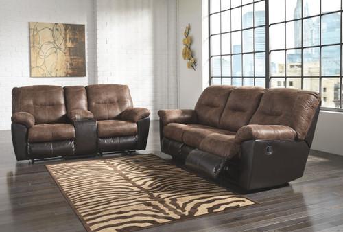 Follett Coffee Reclining Sofa & Double Reclining Loveseat