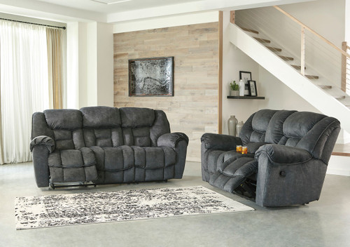 Capehorn Granite Reclining Sofa & Double Reclining Loveseat with Console