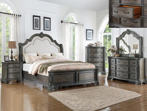 Shefield King Bed- Antique Grey Finish